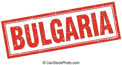 Bulgaria red square grunge stamp on white