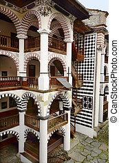 Bulgaria, Rila Monastir 64 - Rila, Bulgaria - Portico with...