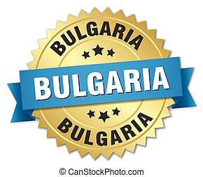 Bulgaria round golden badge with blue ribbon