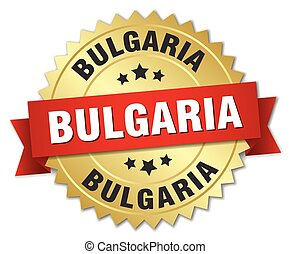 Bulgaria round golden badge with red ribbon
