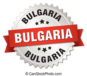Bulgaria  round silver badge with red ribbon