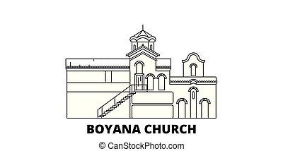 Bulgaria, Sofia, Boyana Church line travel skyline set....