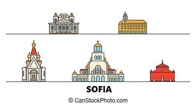 Bulgaria, Sofia flat landmarks vector illustration....
