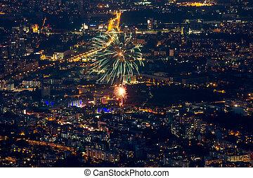 Bulgaria, Sofia, night with firework - Bulgaria, Sofia, ...
