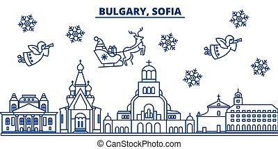 Bulgaria, Sofia winter city skyline. Merry Christmas, Happy New Year decorated banner with Santa Claus.Winter greeting line card.Flat, outline vector.Linear christmas snow illustration