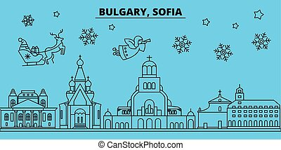 Bulgaria, Sofia winter holidays skyline. Merry Christmas, Happy New Year decorated banner with Santa Claus.Bulgaria, Sofia linear christmas city vector flat illustration