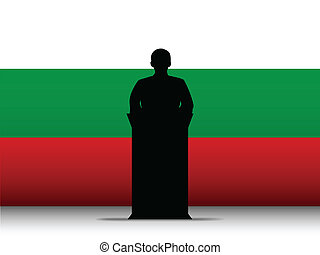 Bulgaria Speech Tribune Silhouette with Flag Background