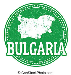 Vintage stamp with world Bulgaria written inside and map of Bulgaria, vector illustration