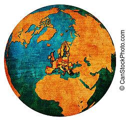 bulgaria territory with flag over globe map