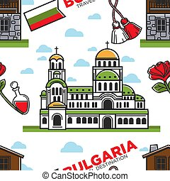 Bulgaria travel destination seamless pattern Bulgarian...