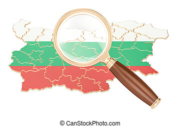 Bulgaria under magnifying glass, analysis concept, 3D rendering