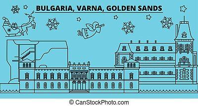 Bulgaria, Varna, Golden Sands winter holidays skyline. Merry Christmas, Happy New Year  with Santa Claus.Bulgaria, Varna, Golden Sands linear christmas city vector flat illustration