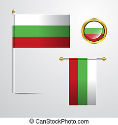 Bulgaria waving Flag design with badge vector