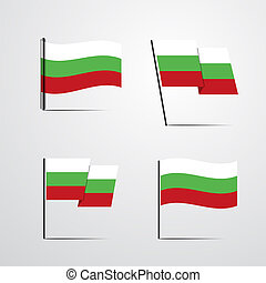 Bulgaria waving Flag set design vector