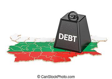 bulgarian, 한 나라를 상징하는, 빚, 또는, 예산, 적자, 재정, 위기, 개념, 3차원, 지방의 정제