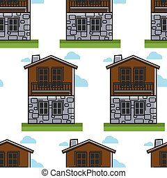 Bulgarian architecture seamless pattern house or dwelling...
