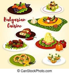 Bulgarian cuisine dinner dish with dessert icon - Bulgarian...