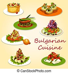 Bulgarian cuisine meat and veggies salads, snacks -...