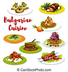 Bulgarian cuisine meat dishes with veggies, cheese -...