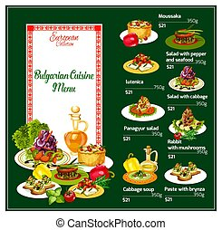 Bulgarian cuisine menu with national dishes prices - Menu of...