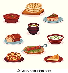 Bulgarian cuisine national food dishes set, traditional healthy delicious food vector Illustration on a white background