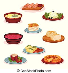 Bulgarian cuisine national food dishes set, traditional healthy food vector Illustration on a white background