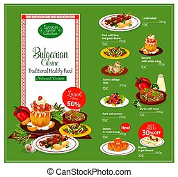 Bulgarian cuisine restaurant menu template with healthy...