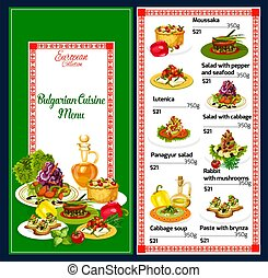 Bulgarian cuisine traditional dishes, vector - Bulgarian...