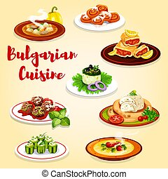 Bulgarian dishes with meat, vegetables and cheese