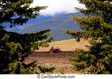 landscape in bulgarian cultivated farmland in high mountain