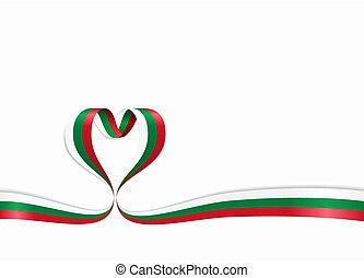 Bulgarian flag heart-shaped ribbon. Vector illustration. -...