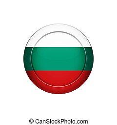 Bulgarian flag on the round button, vector illustration -...