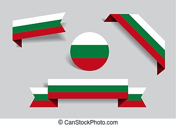 Bulgarian flag stickers and labels. Vector illustration. -...