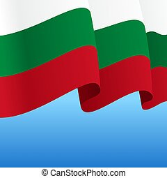 Bulgarian flag wavy abstract background. Vector...