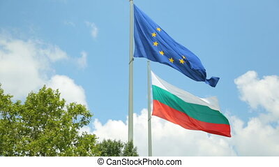 Bulgarian flag with flag of europe together