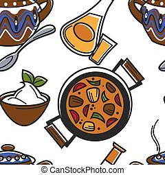 Bulgarian food and drink seamless pattern guvech and rakia -...