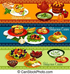 Bulgarian food banner for balkan cuisine design - Bulgarian...