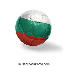 Football ball with the national flag of Bulgaria on a white background