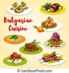 Bulgarian grilled meat and vegetable salad dishes -...