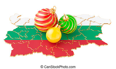 Bulgarian map with colored Christmas balls. New Year and Christmas holidays concept, 3D rendering