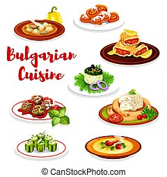 Bulgarian meat dishes and cake, vector - Bulgarian cuisine...