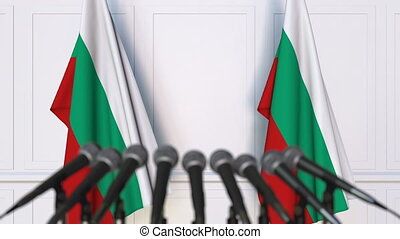 Bulgarian official press conference with flags of Bulgaria....