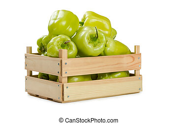 Bulgarian pepper in a wooden box