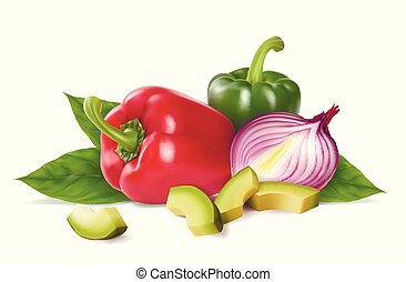 Bulgarian pepper, onion, avocado. The composition is...