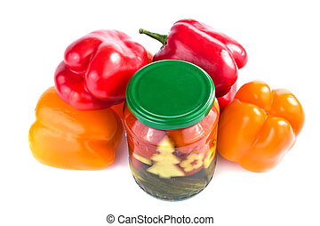 Glass canning and Bulgarian pepper it is isolated on a white background