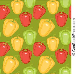 Bulgarian pepper seamless pattern. Paprika yellow, green, red, endless background, texture. Vegetable background Vector illustration.