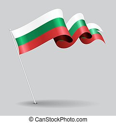 Bulgarian pin wavy flag. Vector illustration. - Bulgarian...