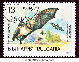Bulgarian Postage Stamp Flying Horseshoe Bat Rhinolophus...