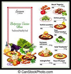 Bulgarian restaurant menu of main dishes, dessert -...