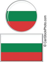 Bulgarian round and square icon flag.